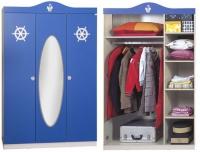 Шкаф 3-х дверный с зеркалом Captain blue