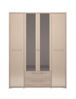 Шкаф 4-х дверный с ящиком с зеркалом 9 спальня Вива
