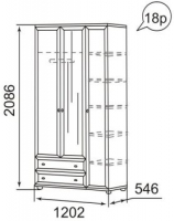 Шкаф для одежды 3-х дверный 18Р Ника-люкс