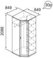 Шкаф угловой для одежды 30Р Ника-Люкс