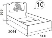 Кровать (800 мм) без ортоп.основ.(декор. накл.) Бьянка
