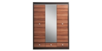 Шкаф с зеркалом 3-х дверный с 3-мя ящиками Дуб феррара/Слива