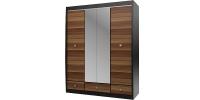 Шкаф с зеркалом 4-х дверный с 3-мя ящиками Дуб феррара/Слива
