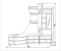 Шкаф комбинированный с тумбой правый КМК 0365.1