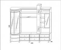 Шкаф комбинированный с витриной правая КМК 0364.2