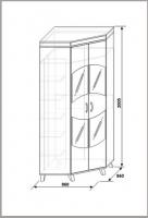 Шкаф для одежды уловой КМК 0364.4 белый