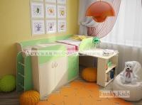 Кровать детская с выдвижным столом Фанки Кидз 10