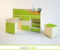 Кровать чердак Вжик клен-лайм