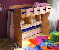 Детская двухъярусная кровать Фанки Кидз 19 с рабочей зоной+ лест