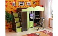 Детская кровать чердак конструктор Волна венге салатовый