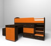 Кровать чердак малыш венге оранжевый