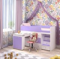 Кровать чердак малыш белый ирис