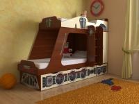 Кровать двухъярусная Паровозик Славмебель