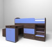 Кровать чердак малыш бодего голубой