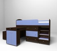Кровать чердак малыш венге голубой