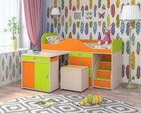 Кровать Малыш Люкс дуб оранжевый лайм