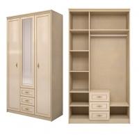 Шкаф для одежды 3-дверный с ящиком 1 Спальня Милан