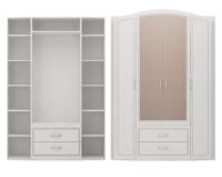 Шкаф для одежды 4-х дв с ящиками с зеркалами 2 Спальня Виктория