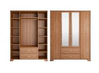 Шкаф для одежды 4-х дв. с ящиками с зеркалом 1 Спальня Венеция