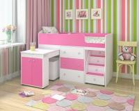Кровать чердак малыш белый розовый