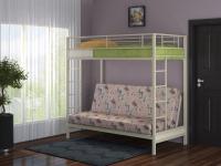 Кровать двухъярусная металлическая с диваном Мадлен
