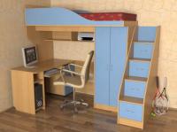 Детская кровать-чердак Квартет Славмебель без стола,  без лестни