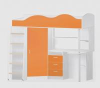 Кровать чердак пионер с деревянной лестницей