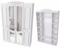 Шкаф четырехстворчатый с зеркалом ШК-06 Спальня Филадельфия