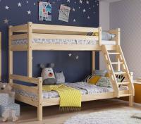 Кровать двухъярусная с наклонной лестницей Адель